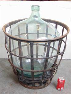Vintage Large Port Wine Demijohn / Carboy with Iron