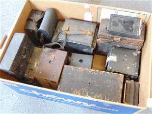 11 Old cameras Lot, antique, Box wood, Kodak #7,