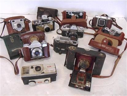 11 Old Cameras Lot , Vintage, asst Metal, slr's, Argus