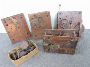 4 Wood works, clock parts, 2 Terry type, Leavenworth,