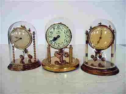 3 mini domed clocks, Vintage, German- All running.