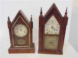 2 Steeple Clock, Ansonia and Gilbert, Time and Strike,