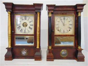 "2 Seth Thomas , Mantel Clock, Column, 16 "" tall, c."