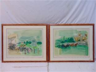 Pair Raoul Dufy signed prints, horse track, equestrian