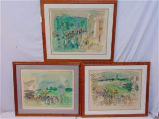 3 Raoul Dufy prints, signed & numbered, various scenes