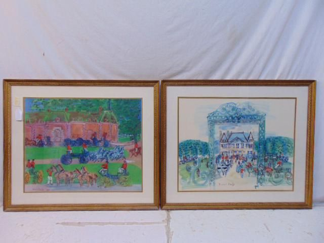 Pair Raoul Dufy prints, estate scenes with various
