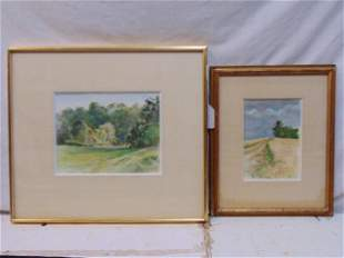 2 paintings, David Hill, landscapes, watercolor on