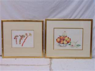 2 paintings, David Hill, still life fruit & Rhubarb