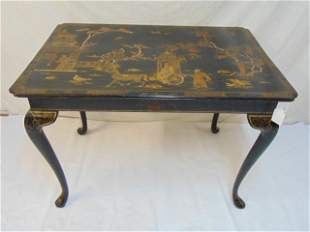 Chinoise table with various painted scenes, table in