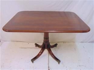Mahogany table, Duncan Phyfe style base, banded inlaid