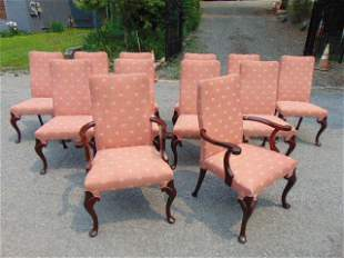 Set of 12 Queen Anne style dining chairs, 10 side, 2