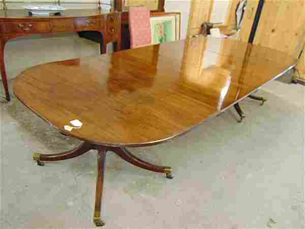 George III double pedestal dining table with 2 leaves,