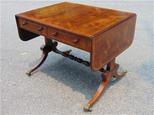 Regency rosewood sofa table with drop leaf sides, 2