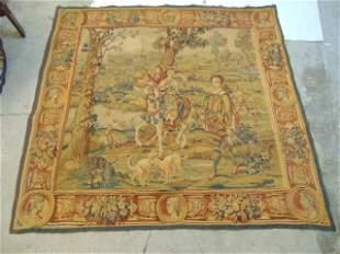Antique tapestry, landscape with figures on horseback,