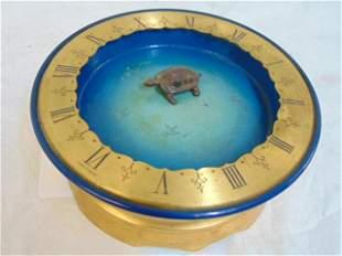 Turtle clock, gilt & painted basin, Swiss made