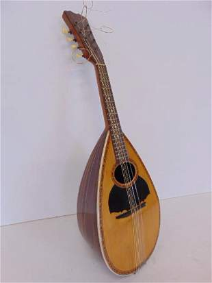 """Inlaid mandolin, rosewood case, new strings, 24"""" total"""