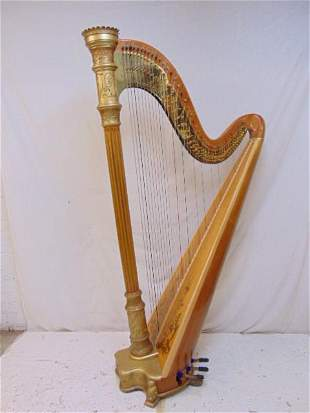 Lyon & Healy tiger maple harp, gilt & paint decorated.