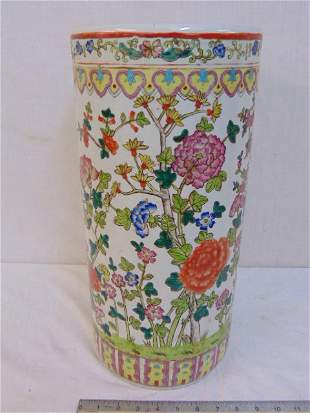 """Chinese porcelain umbrella stand, floral decorated, 18"""""""