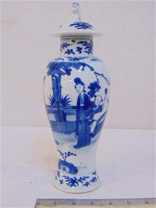 Chinese blue & white porcelain vase with lid, decorated