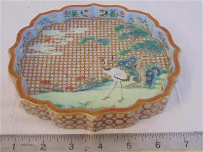 Porcelain Chinese dish, cloisonne (?), decorated with