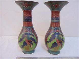 Pair cloisonne trumpet vases, decorated with birds &