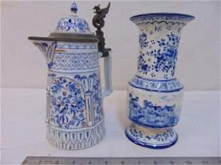 Delft, blue & white porcelain vase & stein, Delft vase