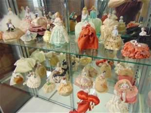 Pin cushion, half doll collection, 29 dolls, various