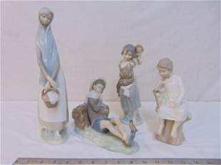 4 Lladro figurines, Spanish porcelain, includes lady