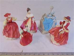 5 porcelain figures, Royal Doulton & Goldscheider,