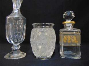 Lalique art glass vase & 2 signed crystal decanters,