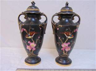 Pair English Alton vases with bird decorations, in