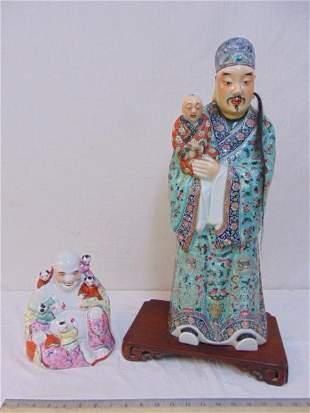 2 Chinese porcelain figures, Buddha figure, signed