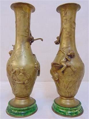 Pair bronze vases, Louis Coustaury, decorated with