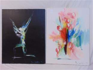 Pair paintings, ballet, by Yury Iosifovich Galetsky, on