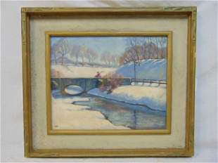Painting, winter scene, Warren Kleinfelter, oil on