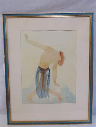 """Watercolor, by Rodin, """"Sketch of Isadora"""", painting,"""