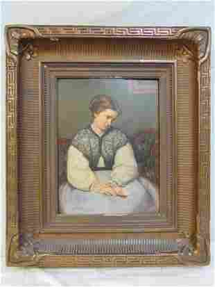Painting, Lemuel Wilmarth, portrait lady with letter,