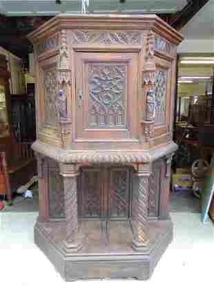 Antique carved Gothic cabinet, 18th century with later