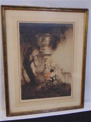 """Icart etching, """"Four Dears"""", 1929, signed, some"""