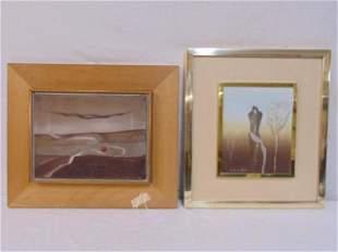 2 paintings, Kristian Kodet, 2 figures, oil on board,