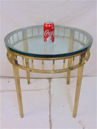 """Round brass base glass top side table, top is 24"""" in"""