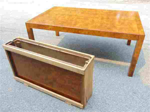 Widdicomb dining table, burl wood with 2 leaves, table