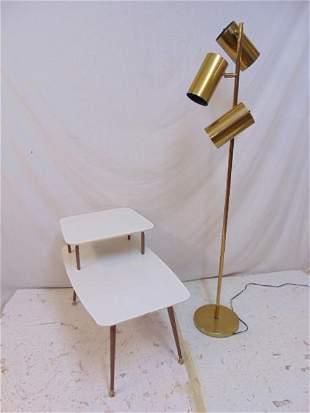 Koch & Lowy floor lamp & side table, brass Mid Century