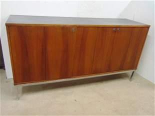 Mid Century cabinet, teak, triple door with faux slate
