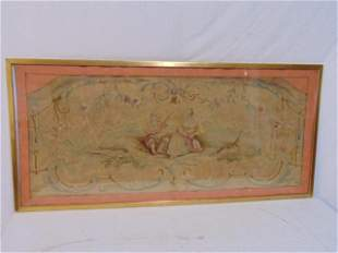 Early needlepoint scene, courting scene with figures,