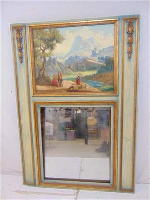 Trumeau mirror, landscape decorated, carved 7 painted,