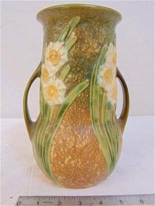 Roseville vase, Jonquil, floral decorated art pottery,