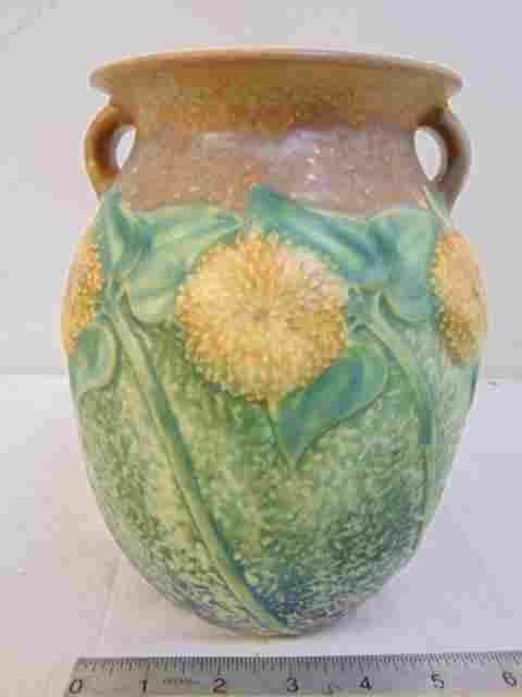 Roseville vase, Sunflower, floral decorated art