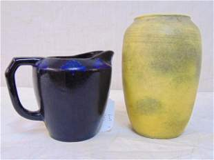 Art pottery, Jervis Pottery pitcher, in deep blue with