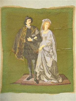 Needlework panel, beaded embroidery, man & woman,